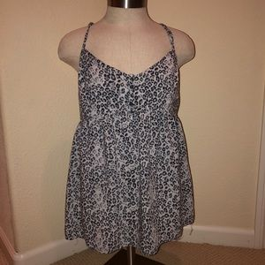 Gray Cheetah print cami sleeve blouse
